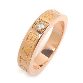 Bulgari 18K Rose Gold & Diamond Double Logo Ring Size 4.5