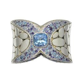 John Hardy Sterling Silver and Blue Topaz Cuff Bracelet