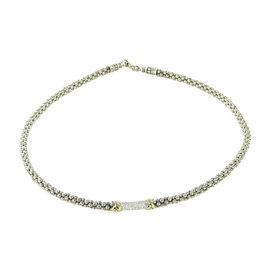 Lagos Caviar 18K Yellow Gold and Sterling Silver with 0.24ct. Diamond Necklace