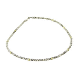 Lagos Caviar Sterling Silver and 18K Yellow Gold 9 Bar Station Necklace