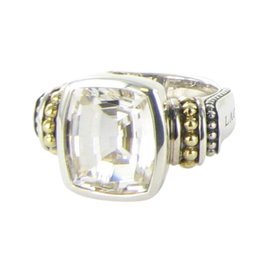 Lagos Caviar 18K Yellow Gold & 925 Sterling Silver with Topaz Ring Size 7