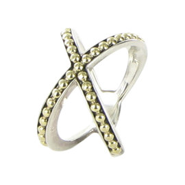 Lagos KSL Caviar 18K Yellow Gold & 925 Sterling Silver Beaded X Cross Ring Size 7