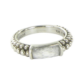 Lagos Caviar Maya 925 Sterling Silver with Quartz Howlite Doublet Stacking Ring Size 7
