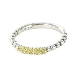 Lagos Caviar Icon 18K Yellow Gold and 925 Sterling Silver Beaded Stacking Ring Size 7
