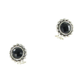 Lagos Maya 925 Sterling Silver with Onyx Doublet Circle Earrings