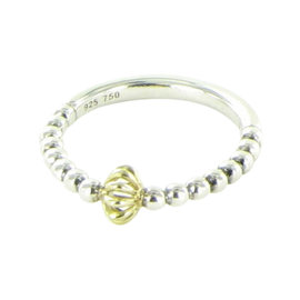 Lagos Caviar Icon 18K Yellow Gold and 925 Sterling Silver Birdcage Beaded Stacking Ring Size 7