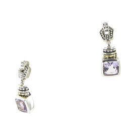 Lagos Caviar 18K Yellow Gold & 925 Sterling Silver with Amethyst Drop Earrings