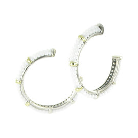 Lagos White Caviar Ceramic, 18K Yellow Gold & 925 Sterling Silver Hoop Earrings