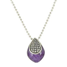 Lagos Caviar 925 Sterling Silver with Lavender Charoite Doublet Pendant Necklace
