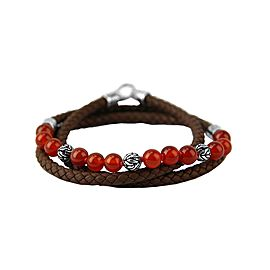 JOHN HARDY ST. SILVER RED AGATE TRIPLE WRAP LEATHER BRACELET