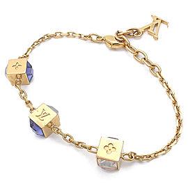 Louis Vuitton Gold Tone Hardware with Blue Stone Gamble Bracelet