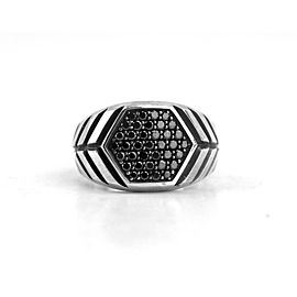 DAVID YURMAN ST. SILVER HEXAGON MODERN CHEVRON BLACK DIAMONDS RING SZ10