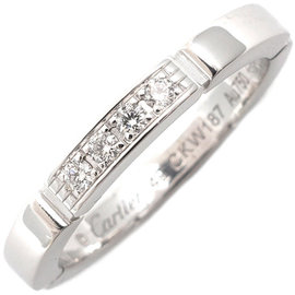 Cartier Maillon Panthère 18K White Gold with 4P Diamond Ring Size 5