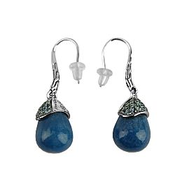 JOHN HARDY STERLING SILVER CLASSIC CHAIN BLUE QUARTZ TOPAZ EARRINGS
