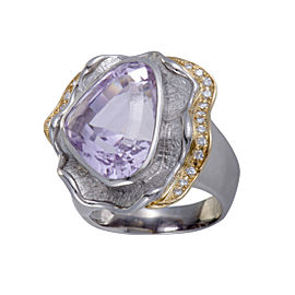 Platinum and 18K Yellow Gold with 0.18ct Diamond and 19.28ct Kunzite Cocktail Ring Size 7.75