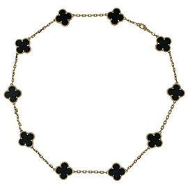Van Cleef & Arpels Alhambra 18k Yellow Gold Onyx Necklace