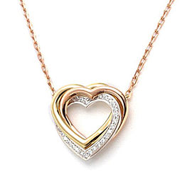 Cartier Trinity Heart Necklace 18K White, Rose and Yellow Gold with Diamond