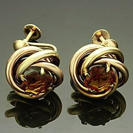 1950s CARTIER Love-Knot Citrine 14k Rose & Yellow Gold Earrings