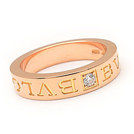 Bulgari Double Logo 18K Rose Gold with Diamond Ring Size 4.5