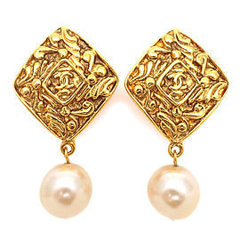 Chanel Gold Tone Hardware Faux Pearl Coco Mark Vintage Earrings