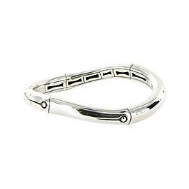 John Hardy Bamboo 925 Sterling Silver Curved Hinged Bangle Bracelet