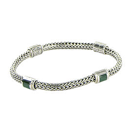 John Hardy Classic Chain 925 Sterling Silver with Malachite 4 Station Bracelet