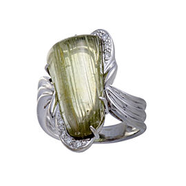 18K White Gold with 0.19ct Diamond and 13.44ct Rutilated Quartz Ring Size 8.75