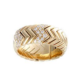 Bulgari Spiga 18K Yellow Gold with Diamond Band Ring Size 10.75