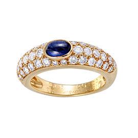 Cartier 18K Yellow Gold 0.75ct Diamond & Sapphire Cabochon Band Ring Size 6.5