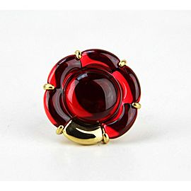 BACCARAT JEWELRY B FLOWER VERMEIL SILVER RED MIRROR LARGE RING SZ 6.5 (53)