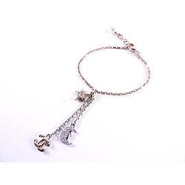 Chanel CC Gold Plated Cultured Pearl Rhinestone Charm Bracelet