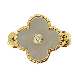 Van Cleef & Arpels 18K Yellow Gold Mother Of Pearl Diamond Vintage Ring Size 6