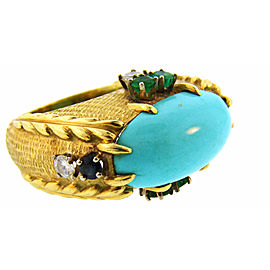 Cartier Vintage Ring 18K Yellow Gold Turquoise Diamond Sapphire Emerald Ring Size 6.25