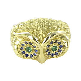 Temple St. Clair Owl Face 18K Yellow Gold with Sapphire and 0.48ctw Emerald Ring Size 6.5