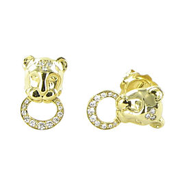 Temple St. Clair Lion Cub 18K Yellow Gold with 0.33ct Diamond Earrings