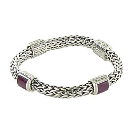 John Hardy Classic Chain 925 Sterling Silver with Ruby Bracelet