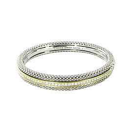 Lagos Caviar 925 Sterling Silver and 18K Yellow Gold with 0.91ctw Diamond Slide Bangle Bracelet