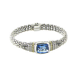 Lagos Caviar 18K Yellow Gold and Sterling Silver with Blue Topaz Rope Bracelet