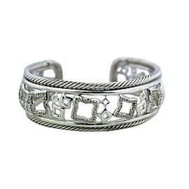 David Yurman Quatrefoil Sterling Silver Diamond Bracelet