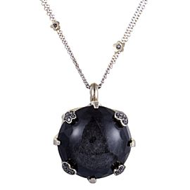 Pasquale Bruni Sissi 18K White Gold Black Diamonds and Onyx Pendant Necklace