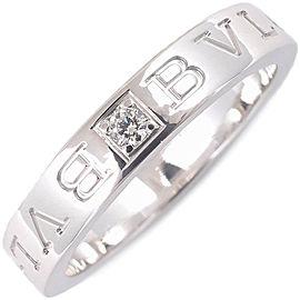 Bulgari Double Logo Ring 18K White Gold Diamond Size 9