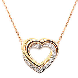 Cartier Trinity Heart Necklace 18k White, Rose and Yellow Gold Diamond