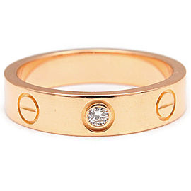 Cartier Mini Love Ring 18K Rose Gold Diamond Size 4