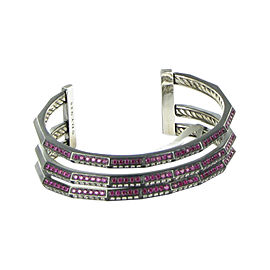 David Yurman 925 Sterling Silver with Rubies and 1.56ctw Diamond Stax Cuff Bracelet