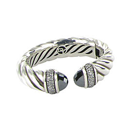 David Yurman 925 Sterling Silver with 1.19ct Diamond and Hematite Waverly Cuff Bracelet