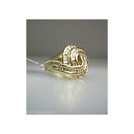 14K Yellow Gold Channel Set Baguette Diamond Free Form Ladies Ring Size 4.5