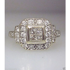 14K WHITE GOLD PRINCESS CUT INVISIBLE SET DIAMONDS LADIES RING SIZE 6.75