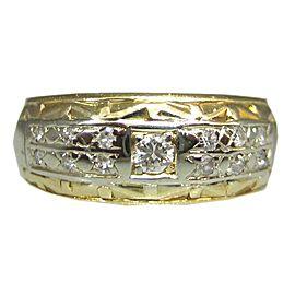14K YELLOW GOLD DIAMOND MENS RING SIZE 7.25