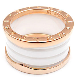 Bulgari Rose Gold Ceramic B-zero1 Ring Size 7