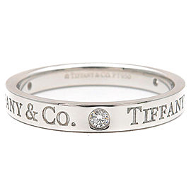 Tiffany & Co. Platinum Flat Band 3P Diamond Ring Size 8
